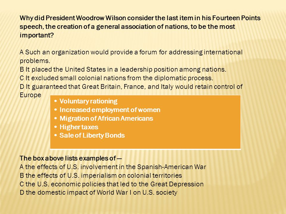 Why did President Woodrow Wilson consider the last item in his Fourteen Points speech, the creation of a general association of nations, to be the most important