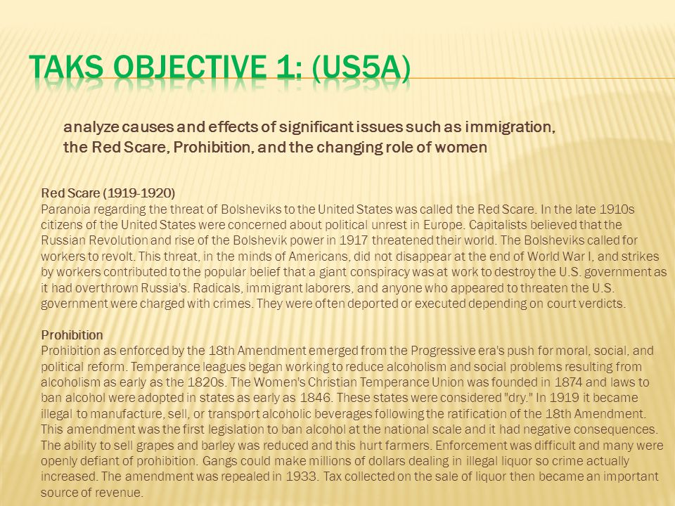 TAKS Objective 1: (US5A)
