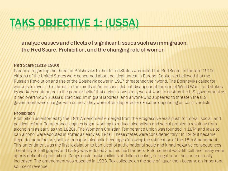 TAKS Objective 1: (US5A)