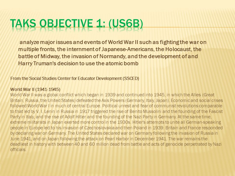 TAKS Objective 1: (US6B)