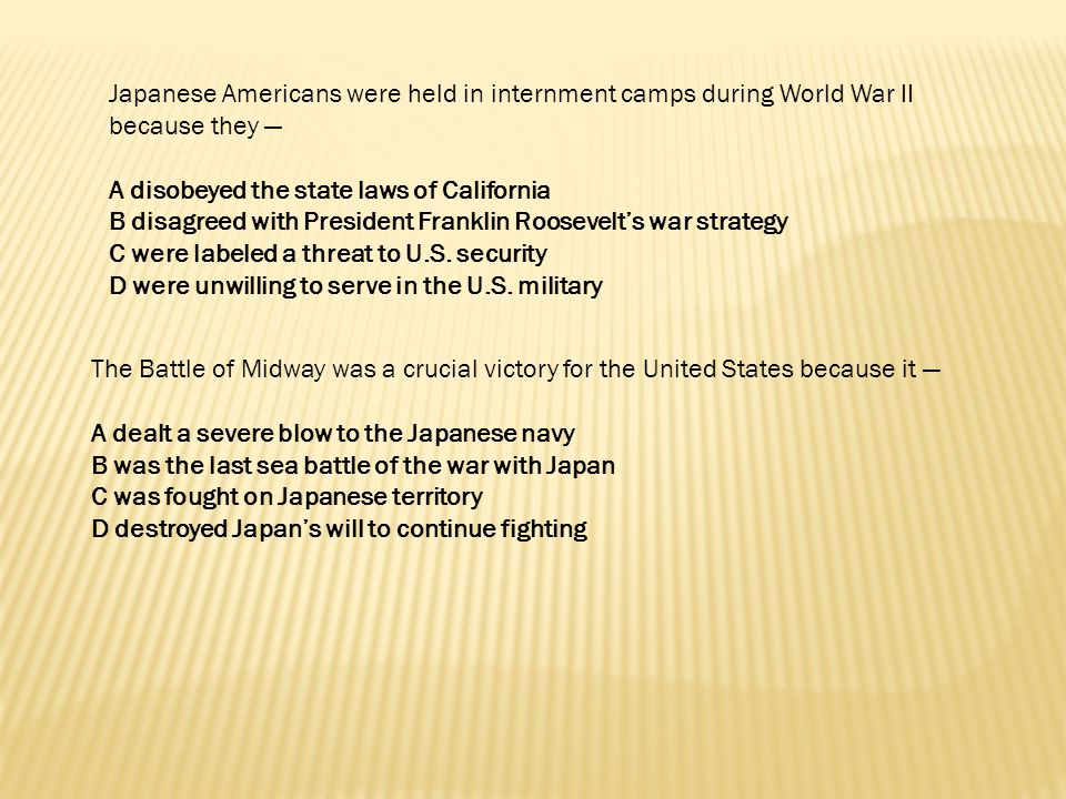 Japanese Americans were held in internment camps during World War II because they —