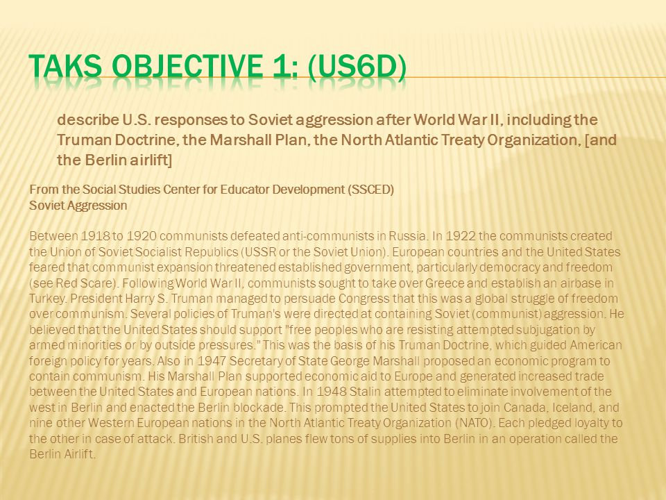 TAKS Objective 1: (US6D)