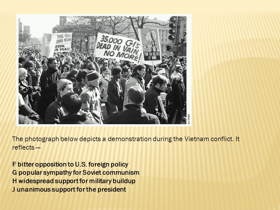 The photograph below depicts a demonstration during the Vietnam conflict. It reflects —