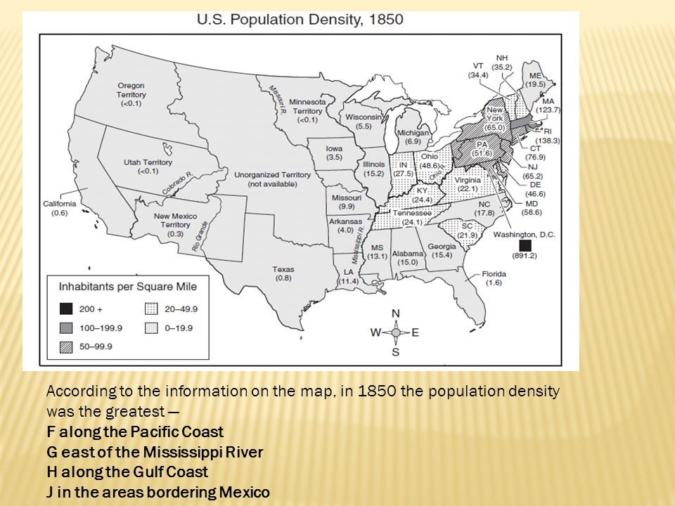 According to the information on the map, in 1850 the population density was the greatest —