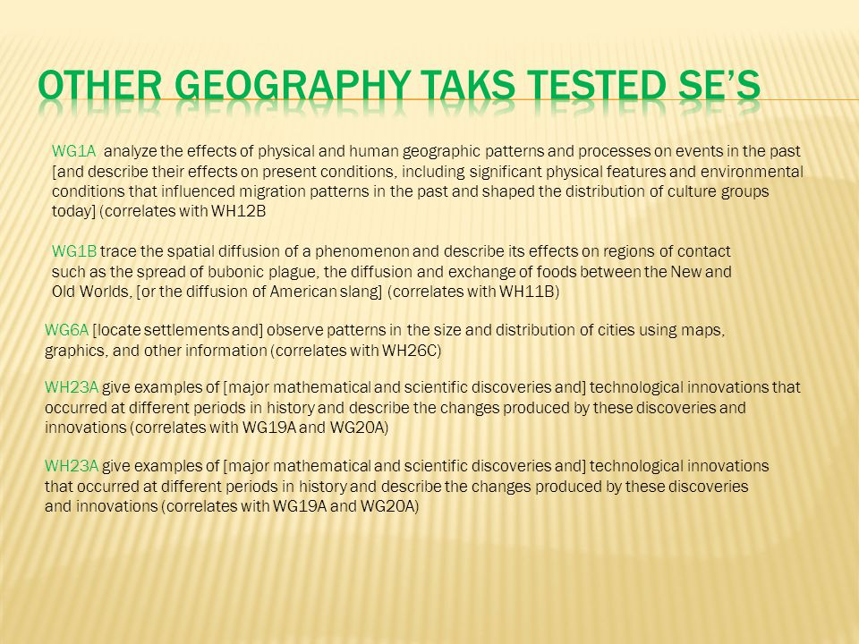 Other Geography TAKS Tested SE's