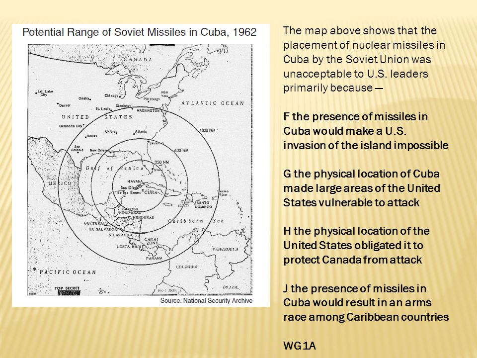 The map above shows that the placement of nuclear missiles in Cuba by the Soviet Union was