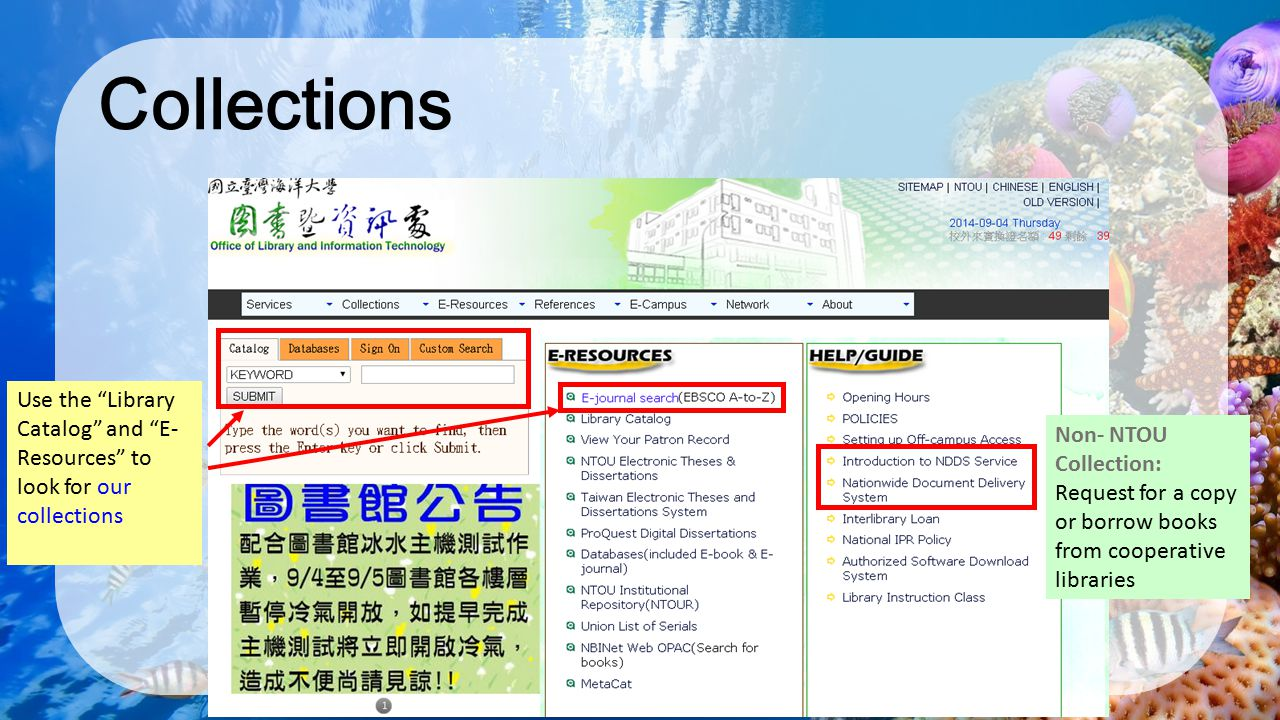 Collections Use the Library Catalog and E-Resources to look for our collections.