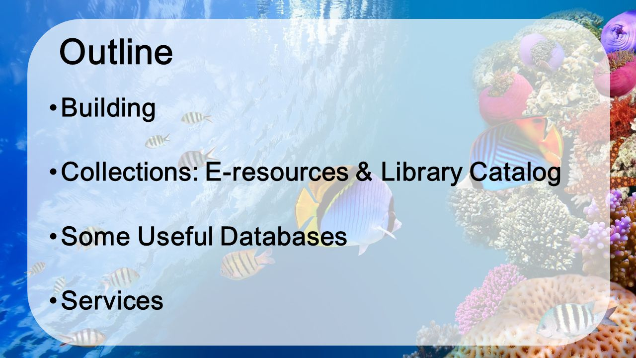 Outline Building Collections: E-resources & Library Catalog