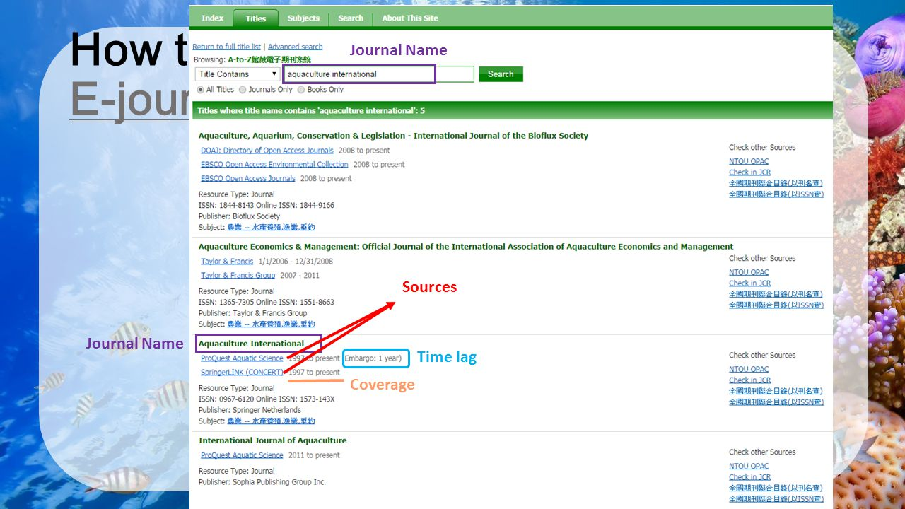 How to find a Journal : E-journals 2/3
