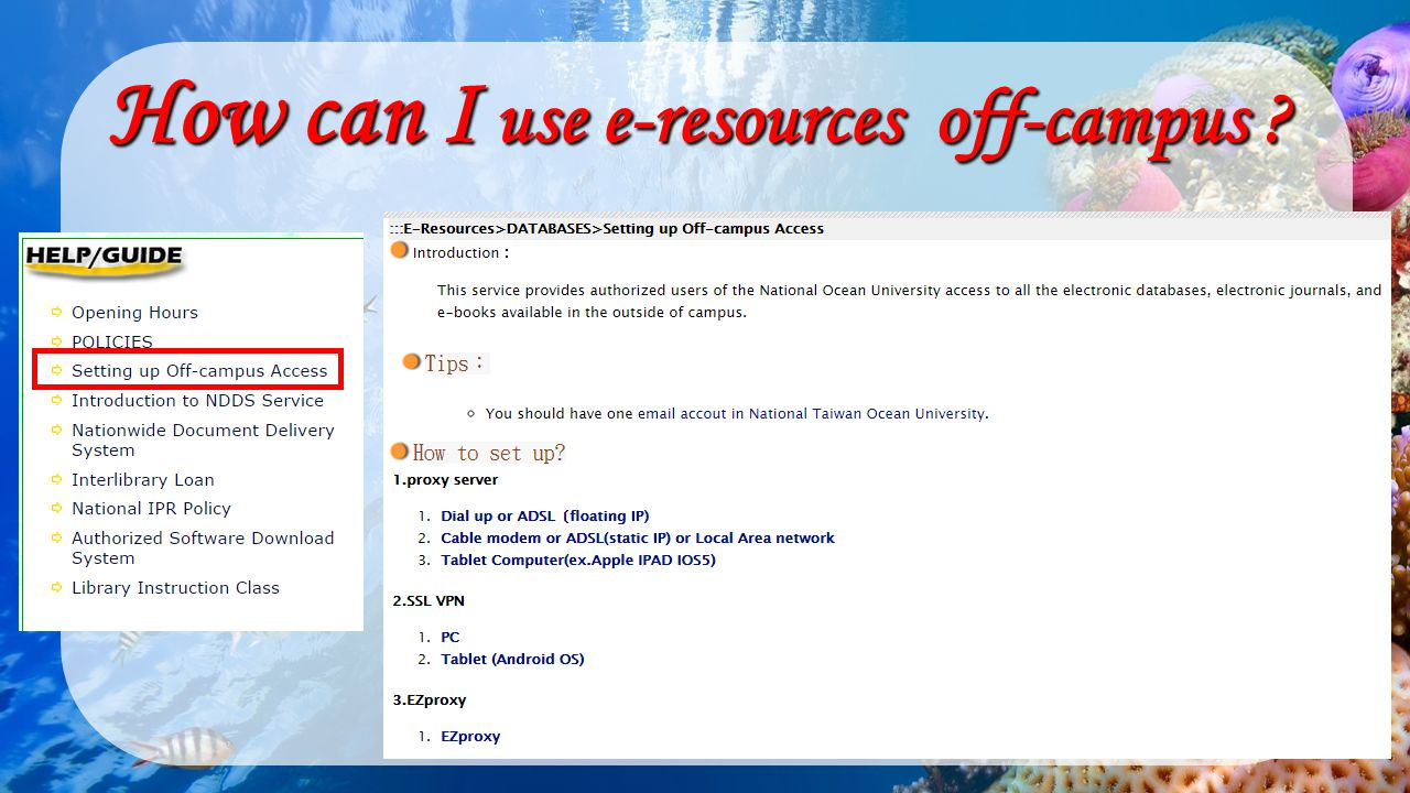 How can I use e-resources off-campus