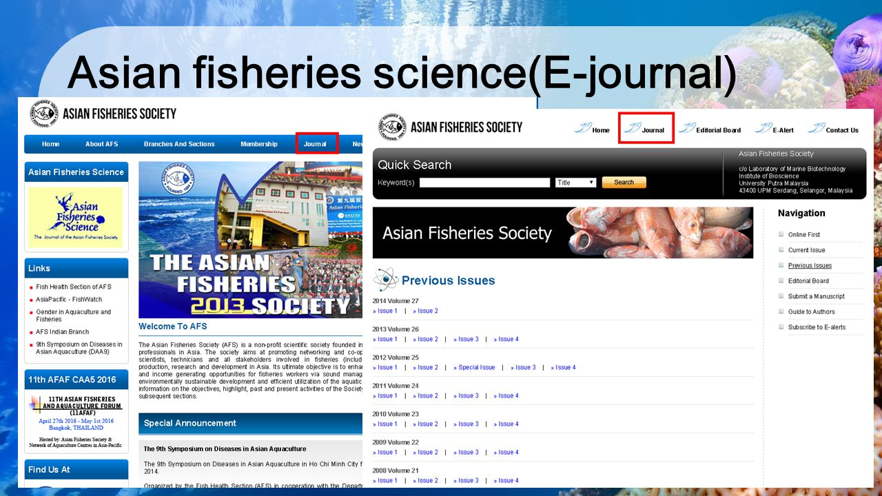 Asian fisheries science(E-journal)