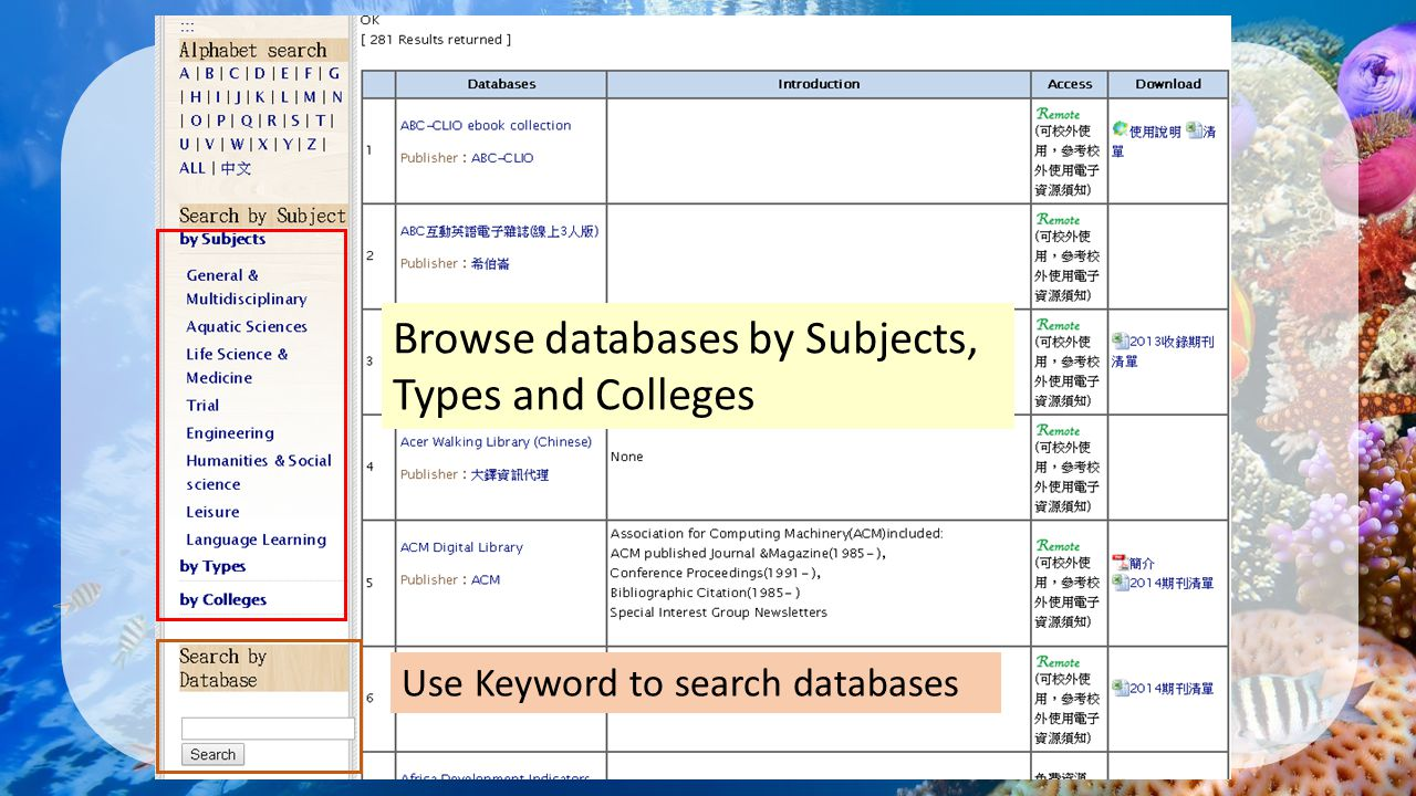 Browse databases by Subjects, Types and Colleges