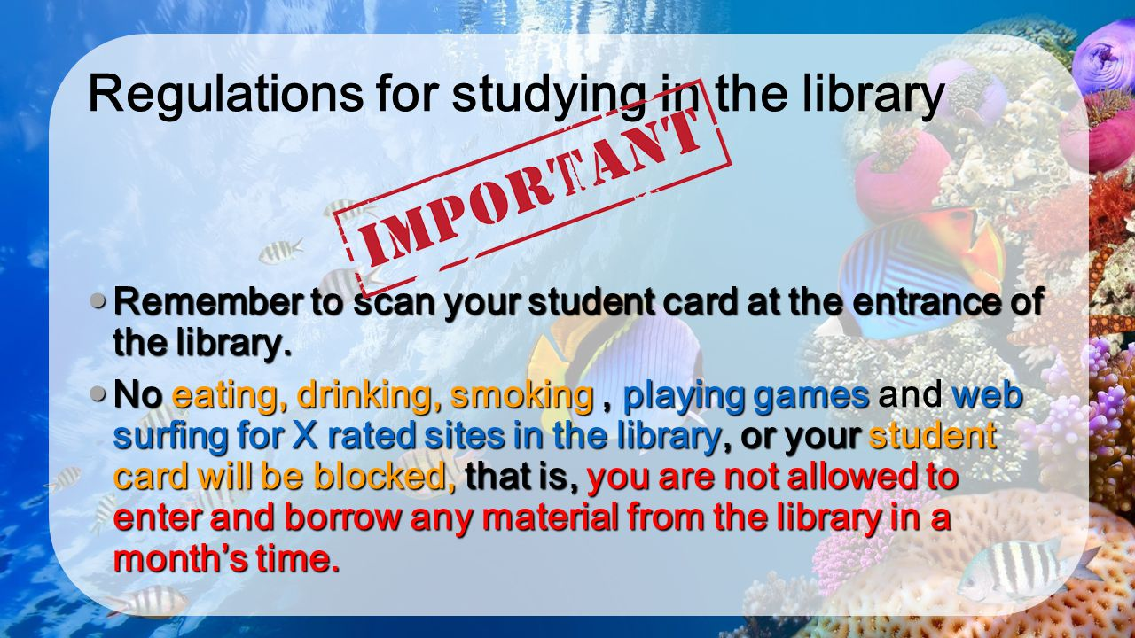 Regulations for studying in the library