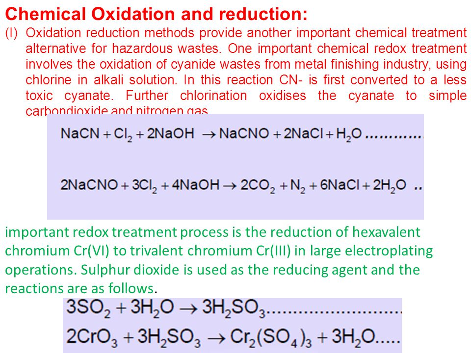 Chemical Oxidation and reduction: