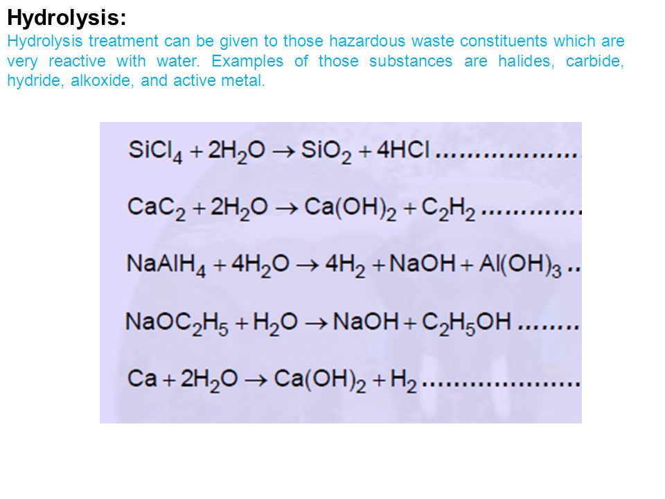 Hydrolysis: