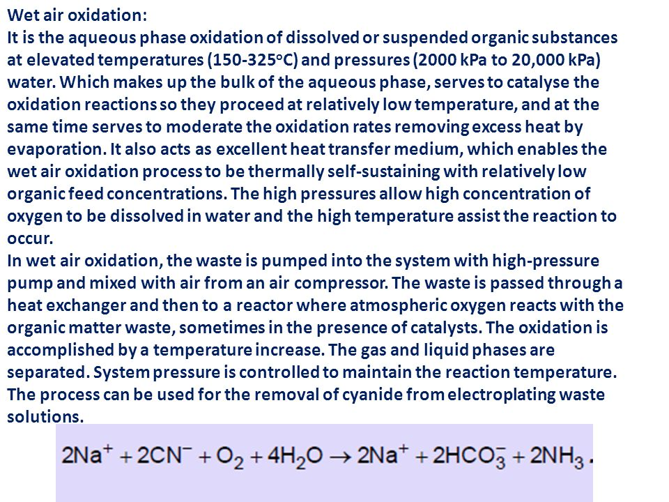 Wet air oxidation: