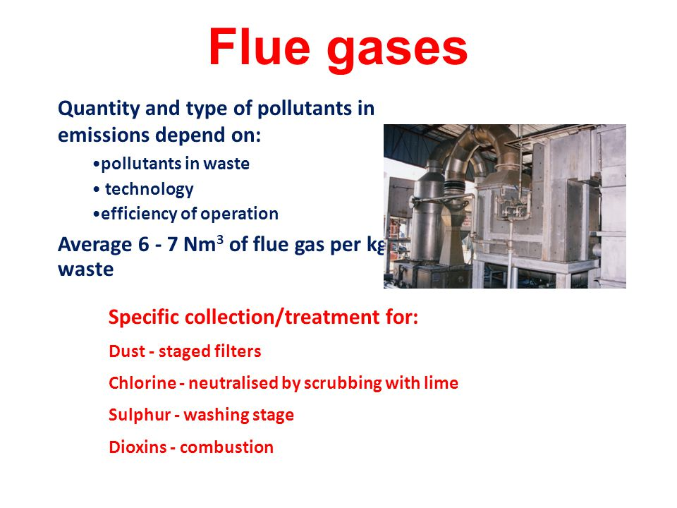Flue gases Quantity and type of pollutants in emissions depend on:
