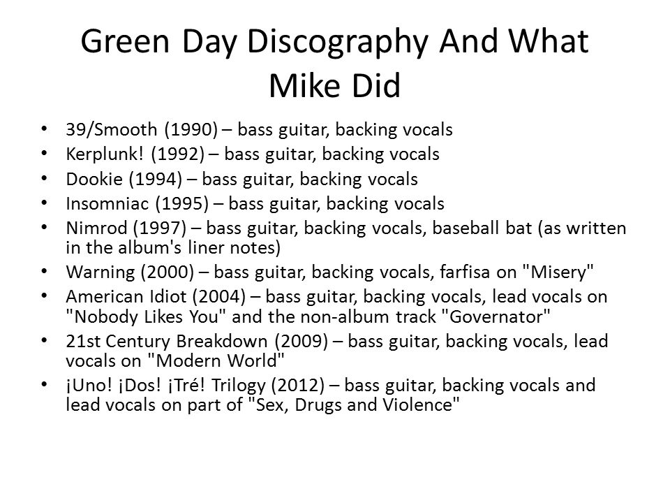 Green Day Discography And What Mike Did