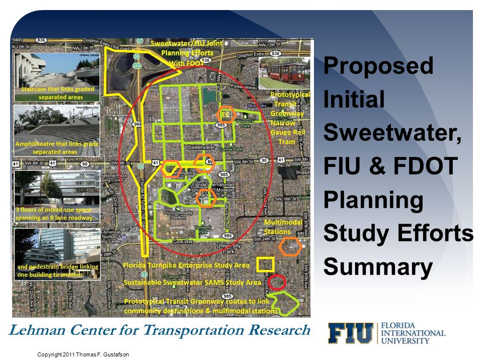 Proposed Initial Sweetwater, FIU & FDOT Planning Study Efforts Summary