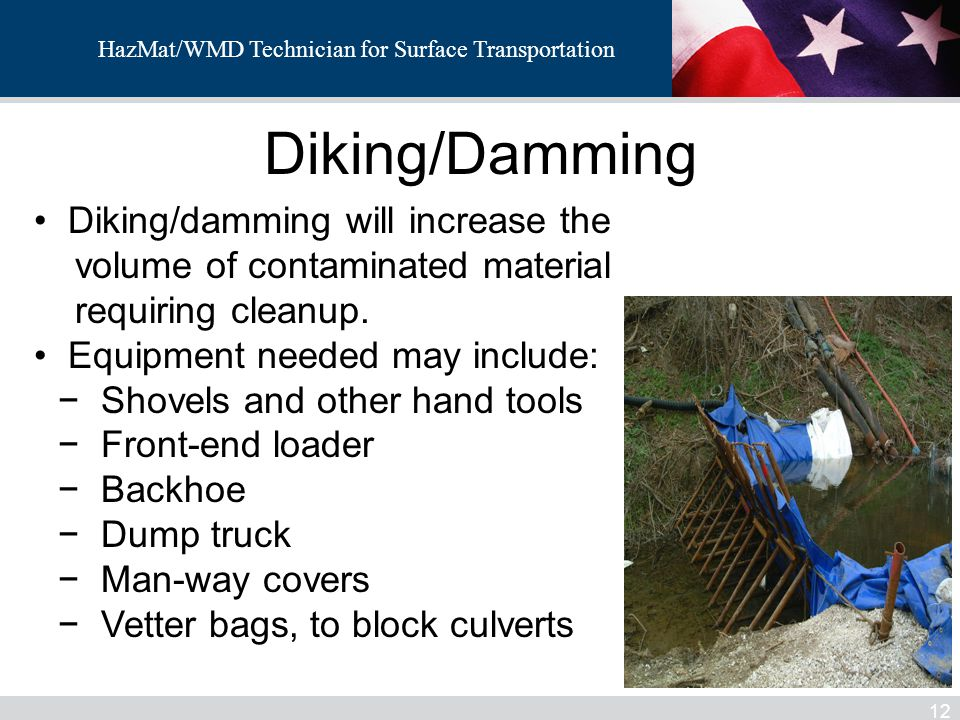 Diking/Damming Diking/damming will increase the