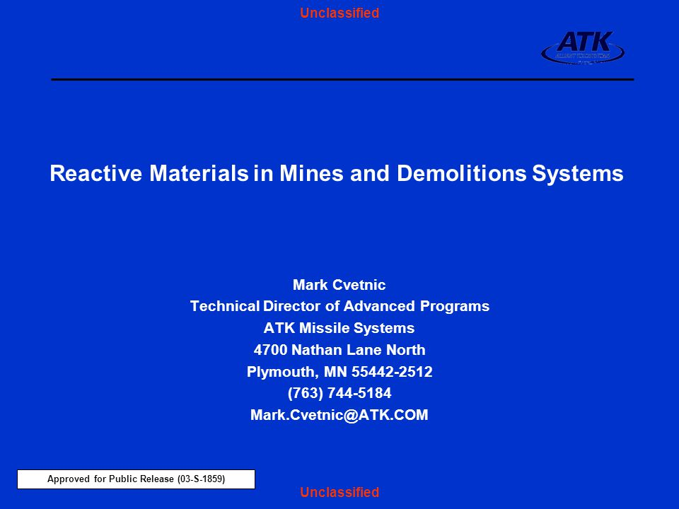 Reactive Materials in Mines and Demolitions Systems