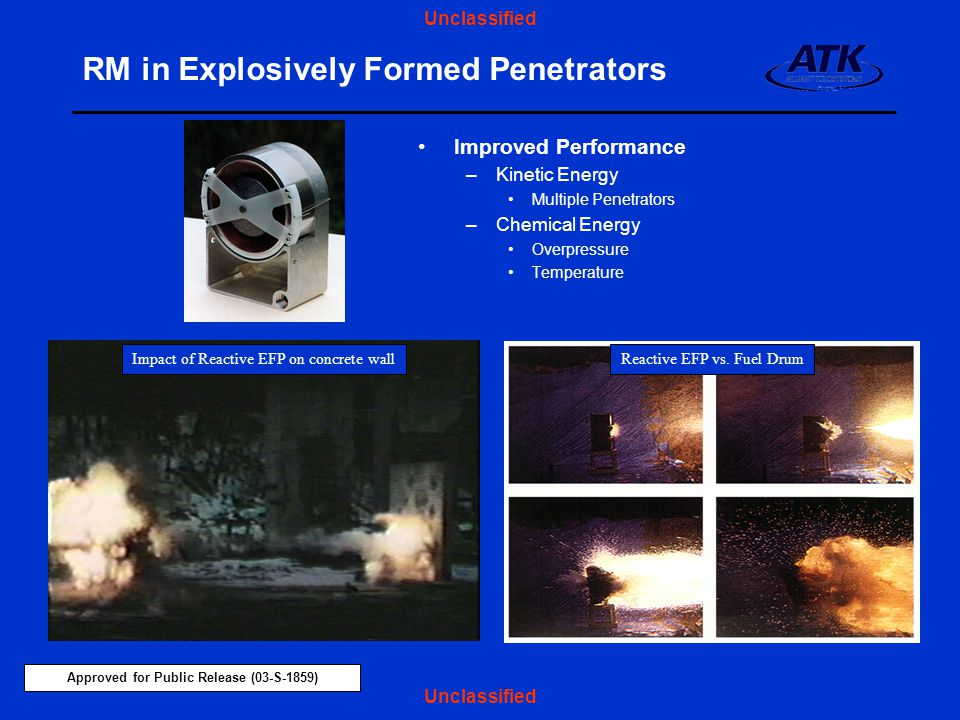 RM in Explosively Formed Penetrators