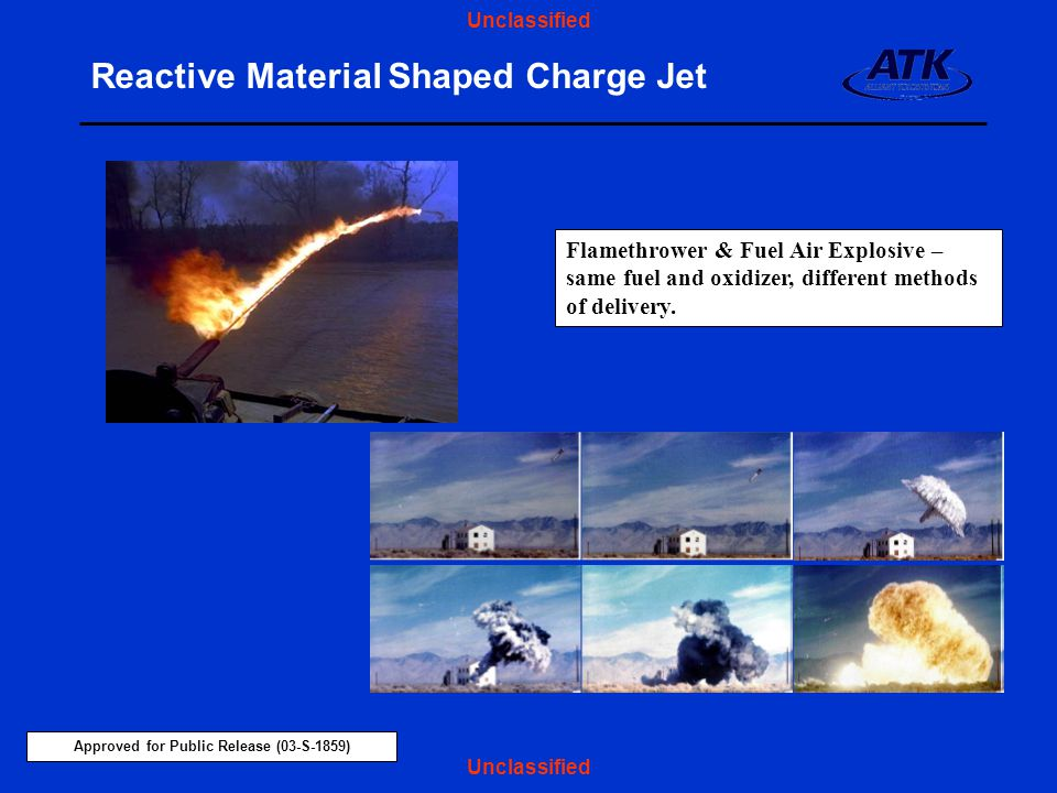 Reactive Material Shaped Charge Jet