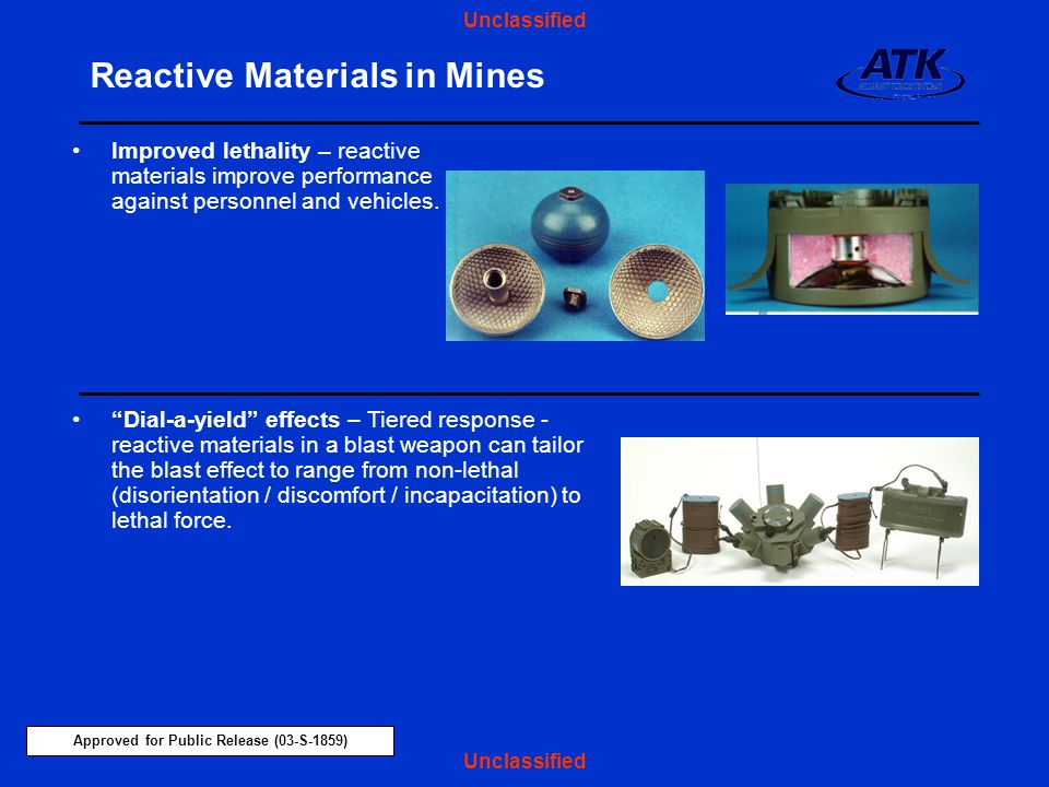 Reactive Materials in Mines