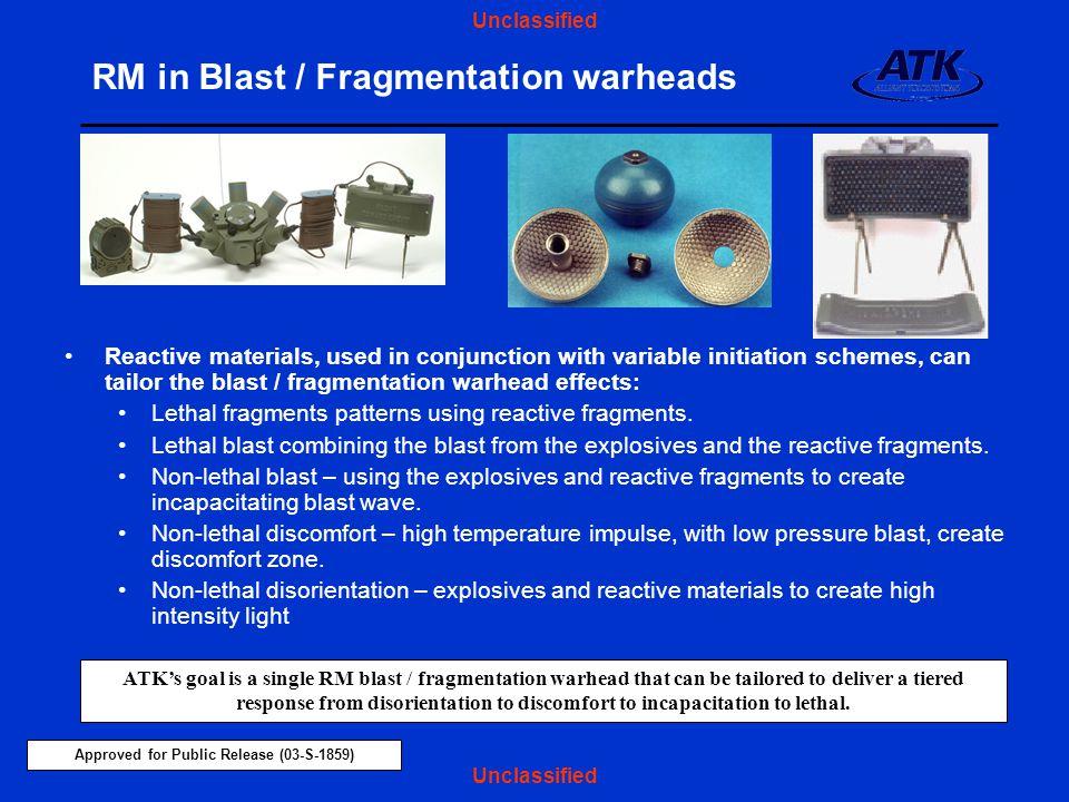 RM in Blast / Fragmentation warheads