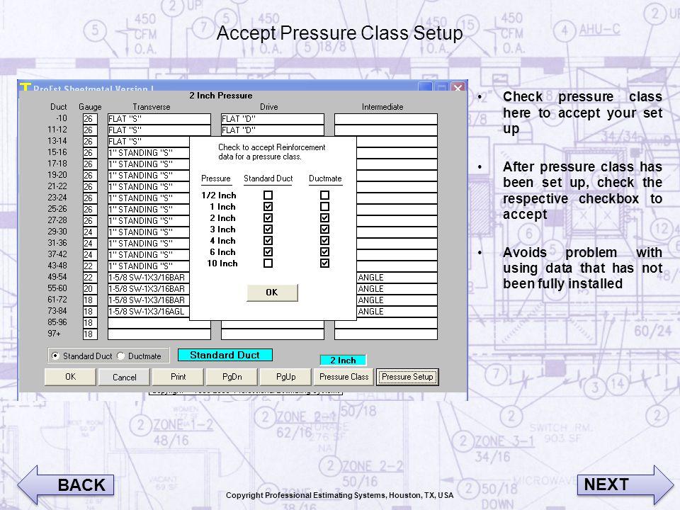 Accept Pressure Class Setup