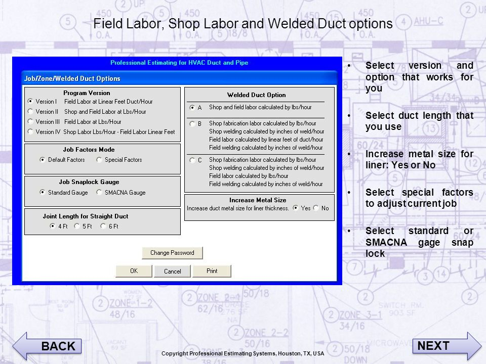 Field Labor, Shop Labor and Welded Duct options