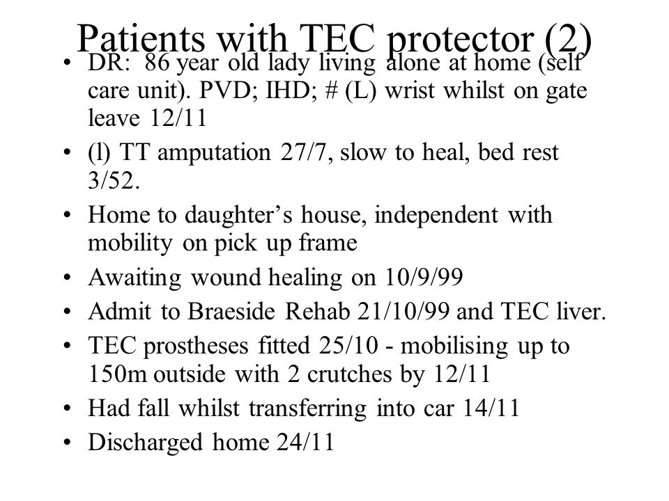 Patients with TEC protector (2)