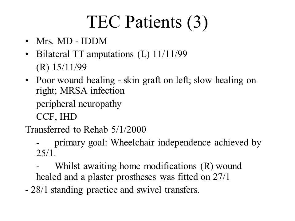 TEC Patients (3) Mrs. MD - IDDM Bilateral TT amputations (L) 11/11/99