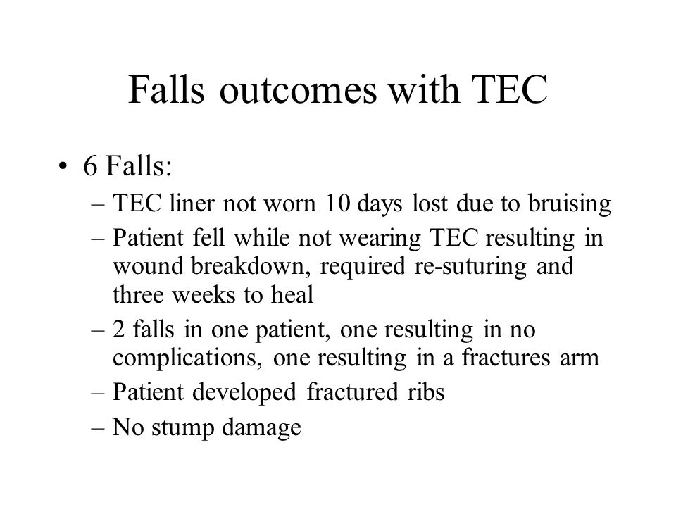 Falls outcomes with TEC