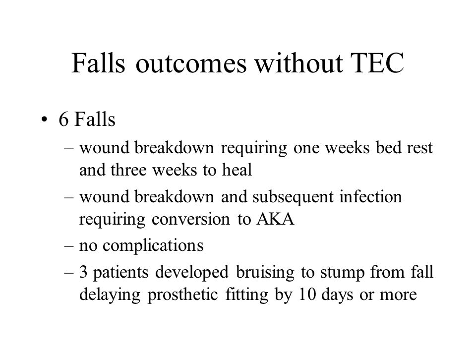 Falls outcomes without TEC