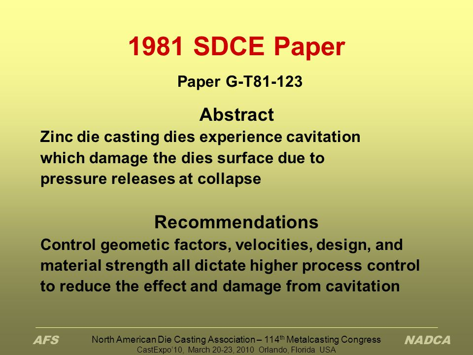 1981 SDCE Paper Paper G-T81-123 Abstract Recommendations