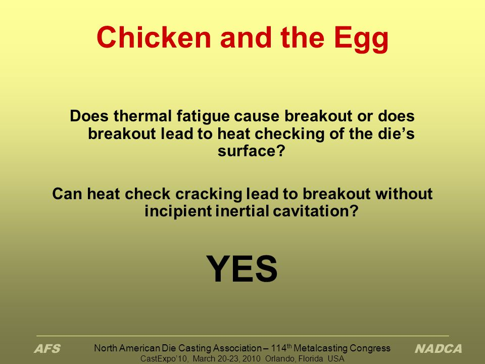 Chicken and the Egg Does thermal fatigue cause breakout or does breakout lead to heat checking of the die's surface