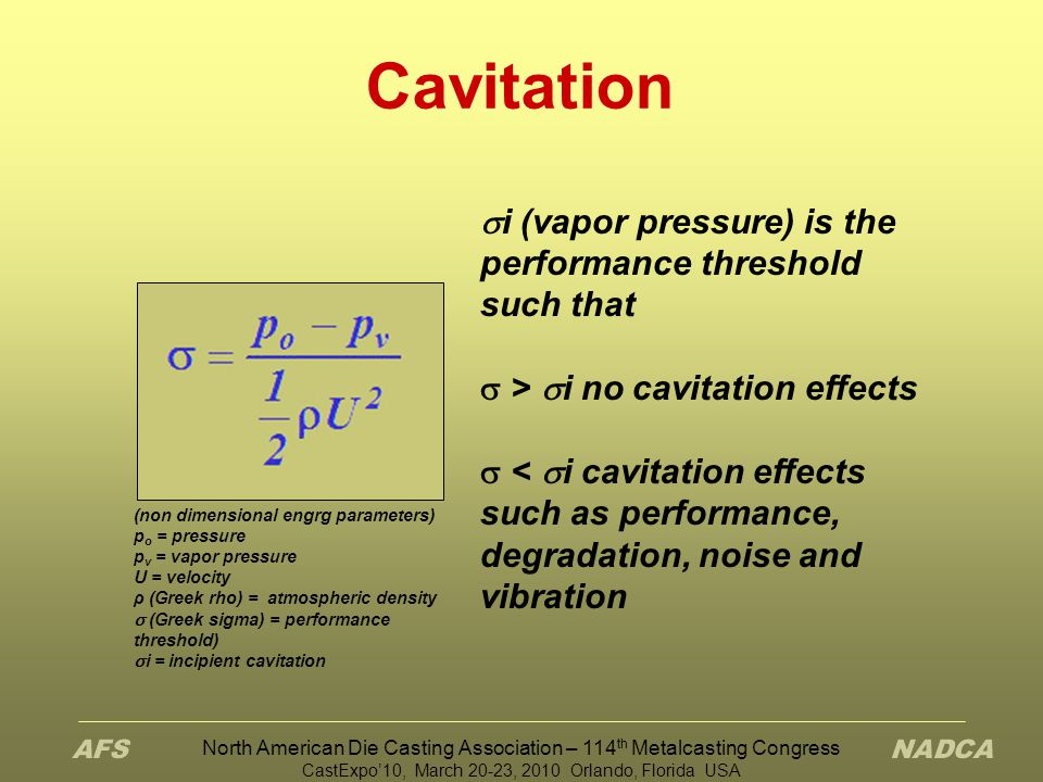 Cavitation i (vapor pressure) is the performance threshold such that
