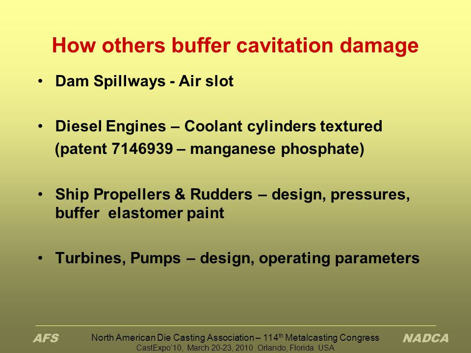 How others buffer cavitation damage