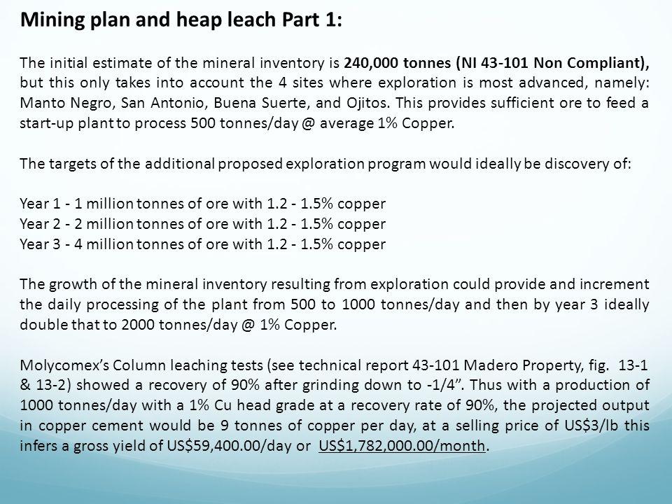 Mining plan and heap leach Part 1: