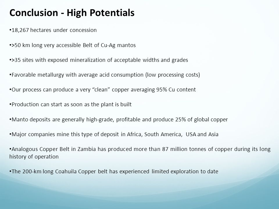 Conclusion - High Potentials
