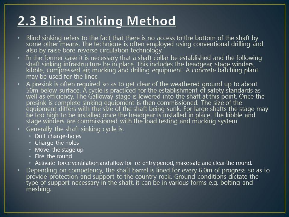 2.3 Blind Sinking Method