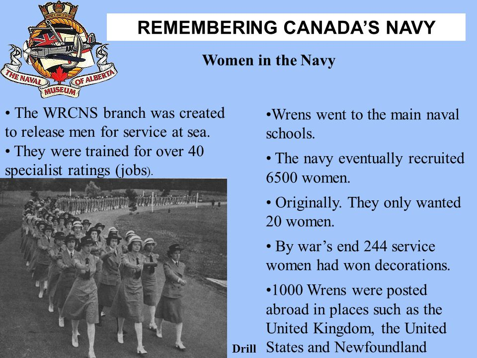 The WRCNS branch was created to release men for service at sea.