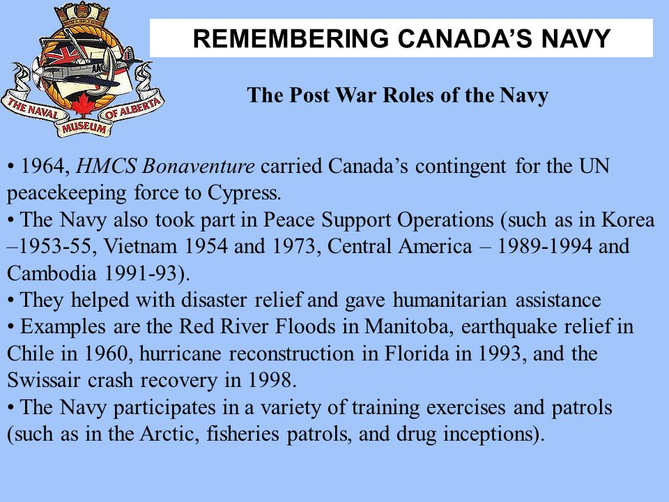 The Post War Roles of the Navy
