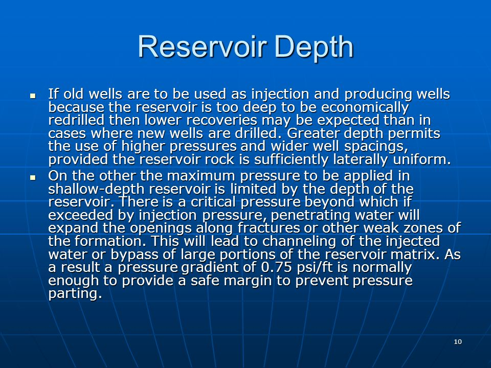Reservoir Depth