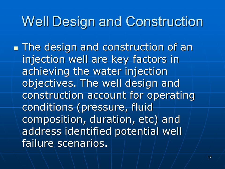 Well Design and Construction