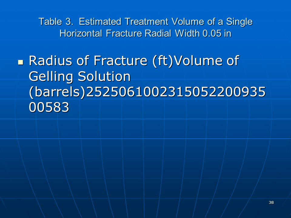 Table 3. Estimated Treatment Volume of a Single Horizontal Fracture Radial Width 0.05 in