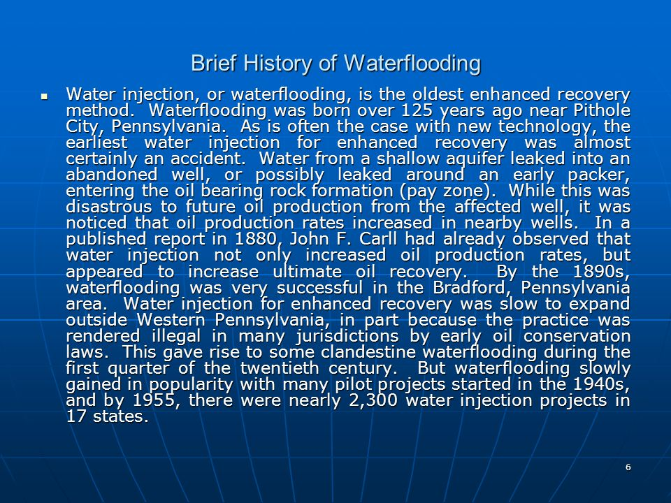 Brief History of Waterflooding