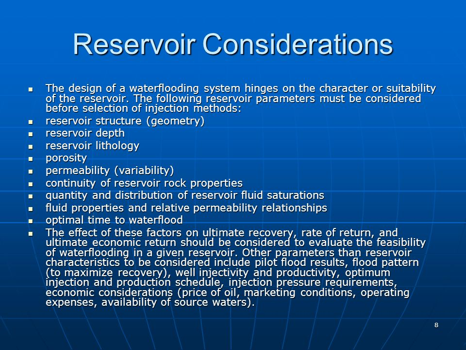 Reservoir Considerations