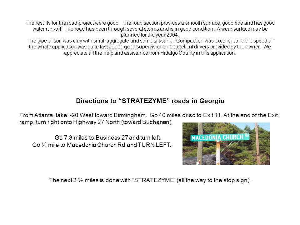 Directions to STRATEZYME roads in Georgia